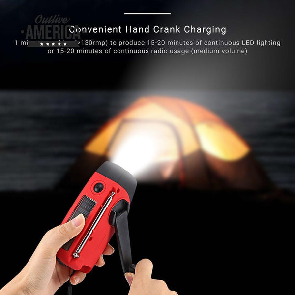 Portable Solar Radio FM Hand Crank Self Powered Phone Charger 3 LED Flashlight AM/FM/WB Radio Waterproof Emergency Survival