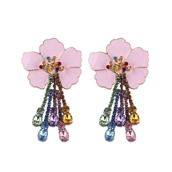 Large Boho Flower Rhinestone Earrings