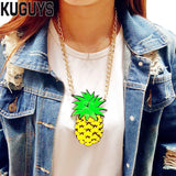 Trendy Gold Chain Pineapple Necklace