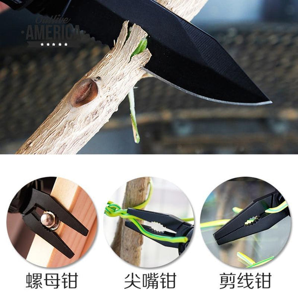 QUK Pliers Multitool Folding Pocket EDC Camping Outdoor Survival hunting Screwdriver Kit Bits Knife Bottle Opener Hand Tools