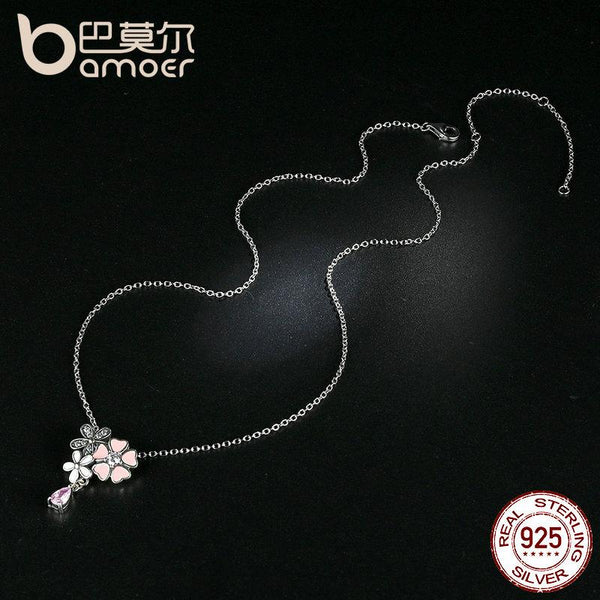 Silver Pink Heart Cherry Blossom Flower Pendant Necklaces