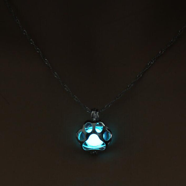 Glow In The Dark Paw Print Necklace