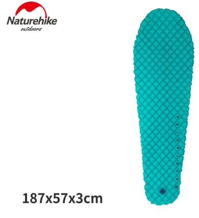 Naturehike Outdoor Inflatable Single Mummy Sleeping Pad Camping Cushion Moistureproof Air Bed Mats Super Light Portable 380g