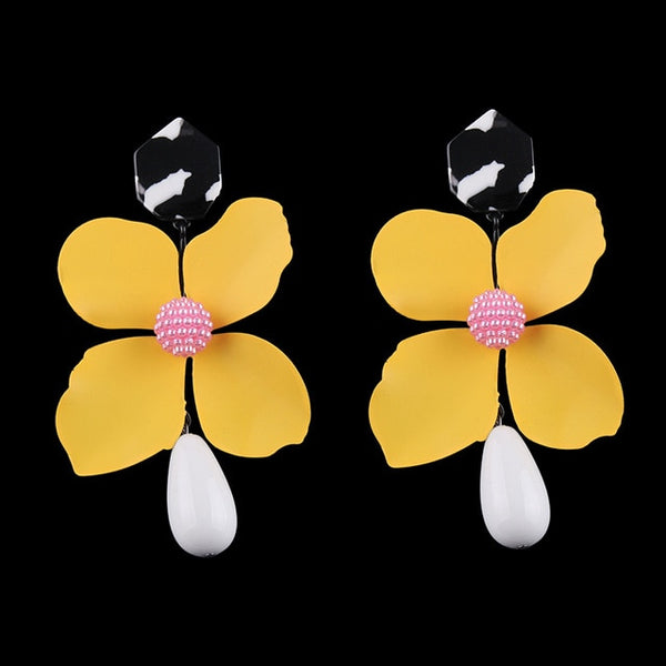 Large Dangle Flower Earrings