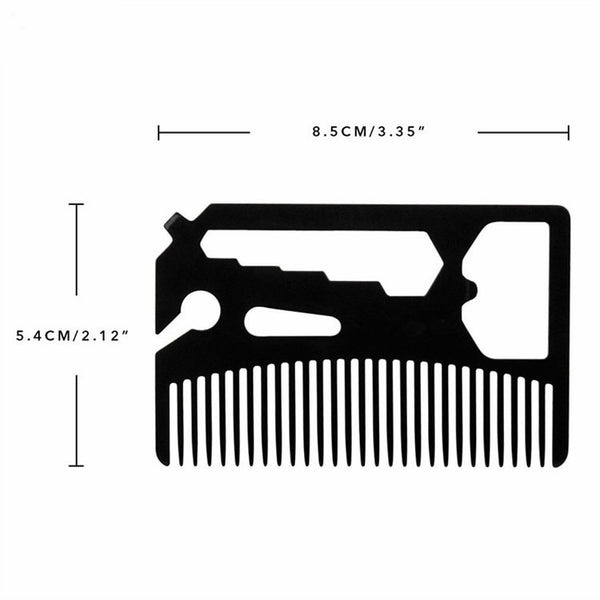 Multifunctional Utility Beard Comb Fits in Your Wallet Comb Bottle Opener Wrench Screw Driver Knife Blade breakaway