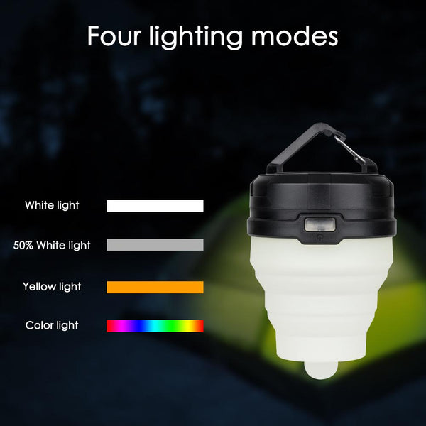 Collapsible Camping Light LED Portable Lantern 4 Modes w/ Mini Hook for Hanging