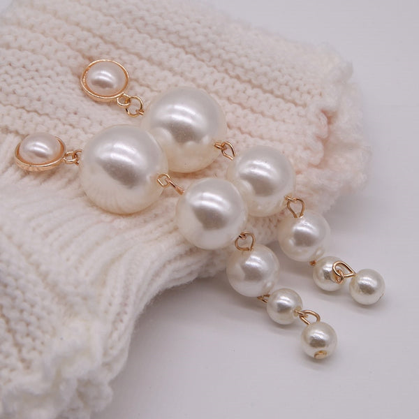 Large Dangle Pearl Earrings