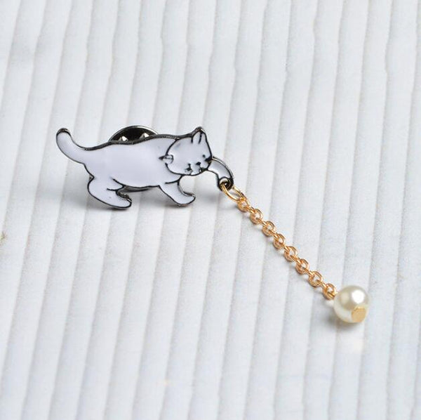 Cute Chic Imitation Pearl Cat Brooch Pin