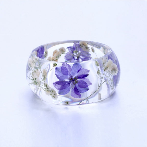 Transparent Purple Flowers Bracelet