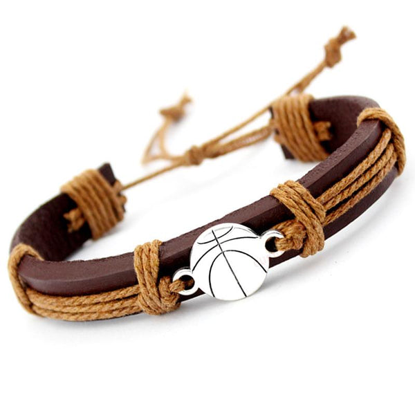Basketball Football Soccer Softball Volleyball Leather Bracelets