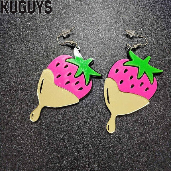 Chocolate Covered Strawberries Earrings