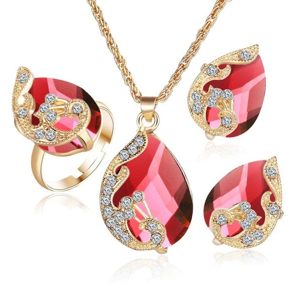 Crystal Peacock Jewelry Sets Necklace Earring Ring
