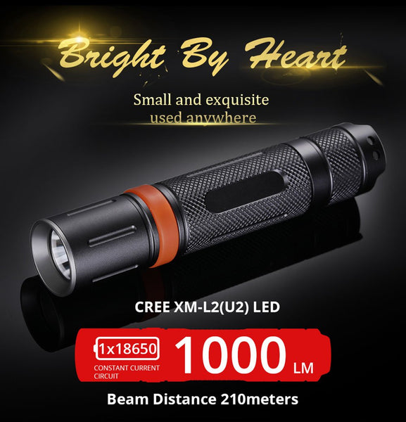 S2 Cree XML2 U2 IPX-8 waterproof 3modes LED Flashlight,torch,lanterna ,self defense,camping light, lamp,for outdoor adenture