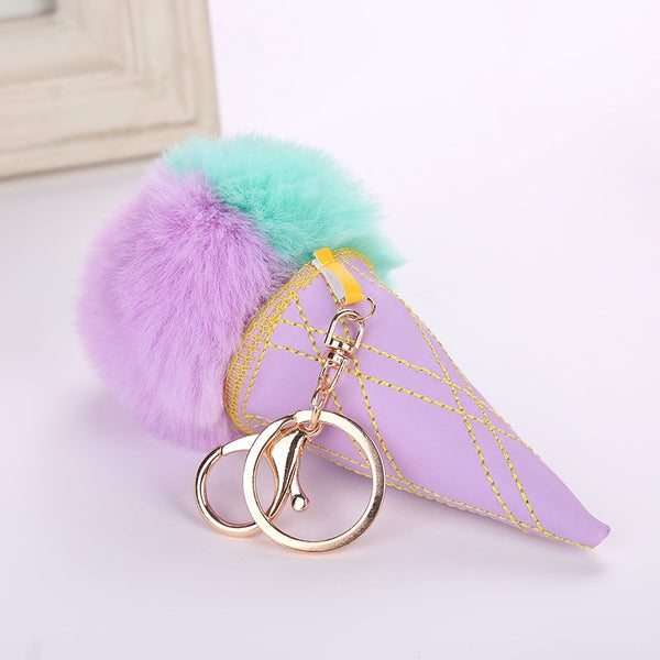 Ice Cream Fur Ball Key Chain