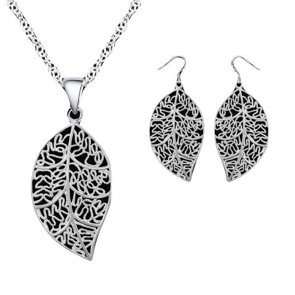 Pretty Leaf Necklace and Earring Set