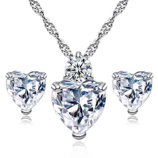 Crystal Heart Necklace and Earring Set
