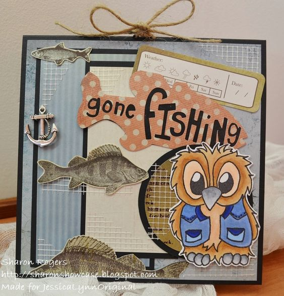 Fishing at Phantom Lake Fathers Day Dad 4x6 Photopolymer Stamp Set