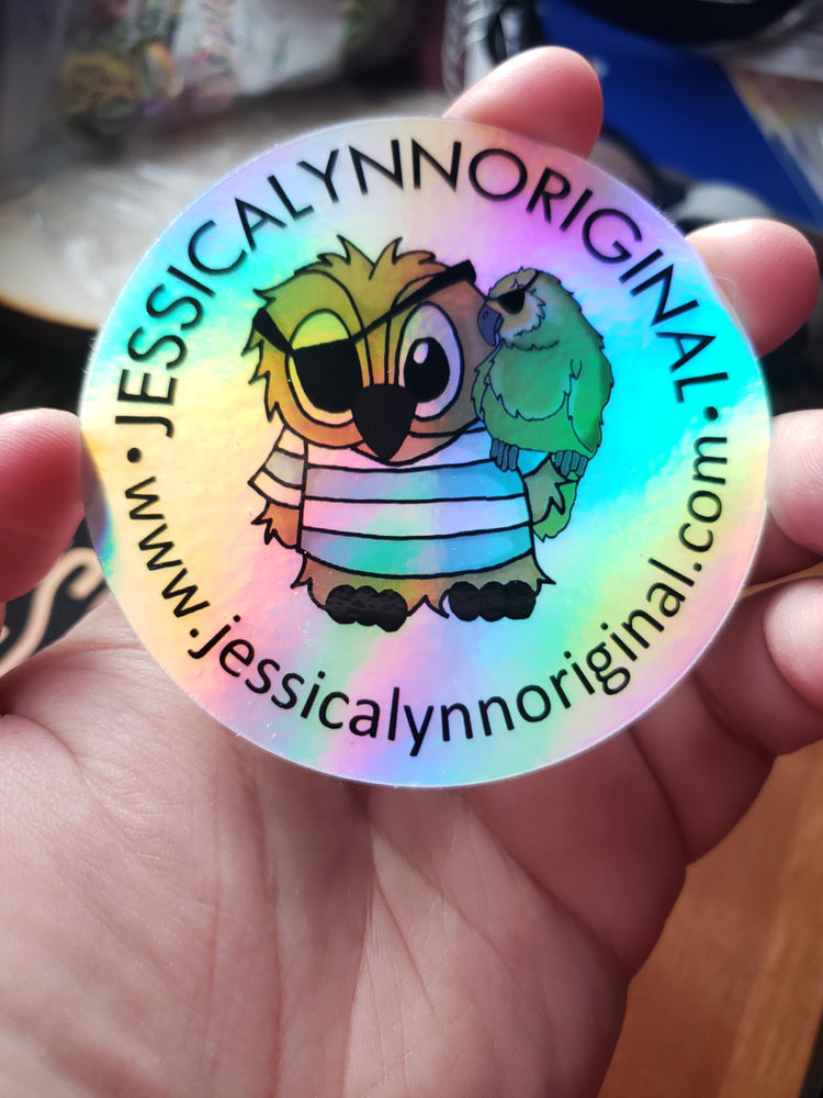 JessicaLynnOriginal Logo Holographic Sticker Laminated Matte Finish Vinyl Stickers