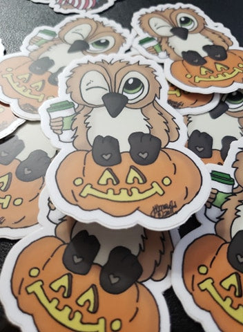 Coffee Lover BrentwoodOwl© Limited Edition Laminated Matte Finish Vinyl Sticker