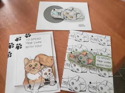Handmade Set of 3 Handcrafted Cat Cards Meow Nine Lives