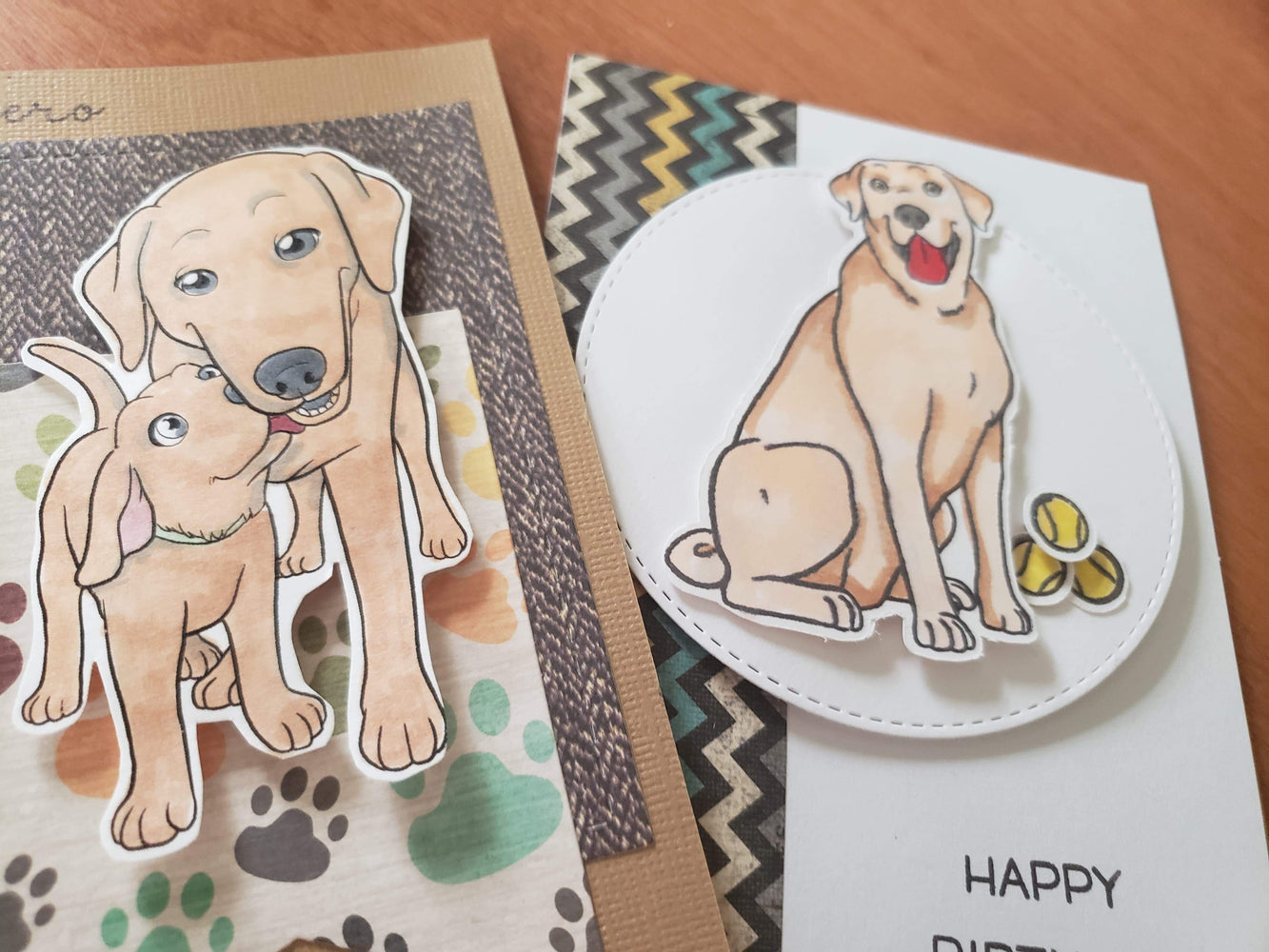 Handmade Labrador Retriever  Set of 2 Golden Mom Baby Dog Card Love Birthday