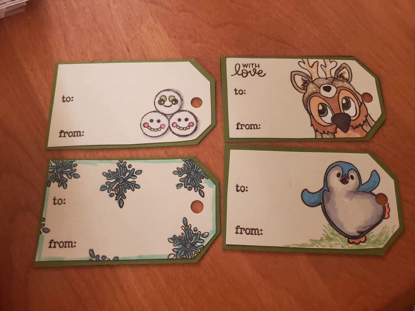 Handmade Set of 4 Christmas Tags Brentwood Owl, Snowballs, Snowflakes, and Penguin