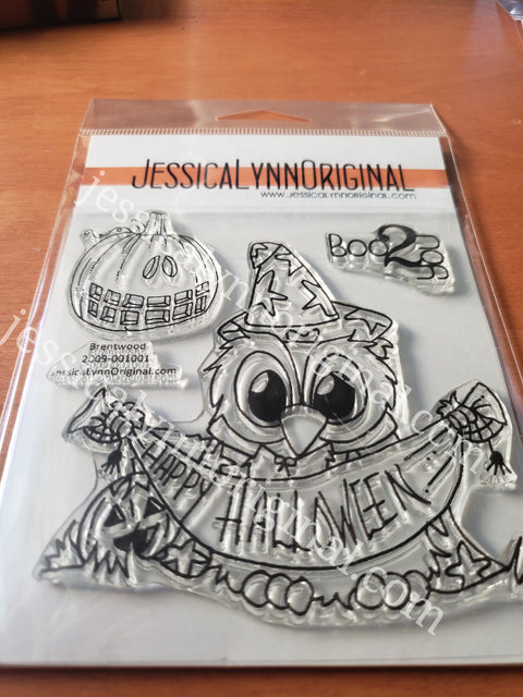 Brentwood Owl© Happy Halloween Wizard  Banner 4x4 Clear Photopolymer Stamp Set