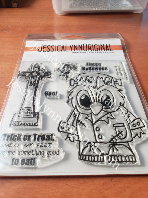 Brentwood Owl© Happy Halloween Frankenstein monster costume 4x4 Clear Photopolymer Stamp Set