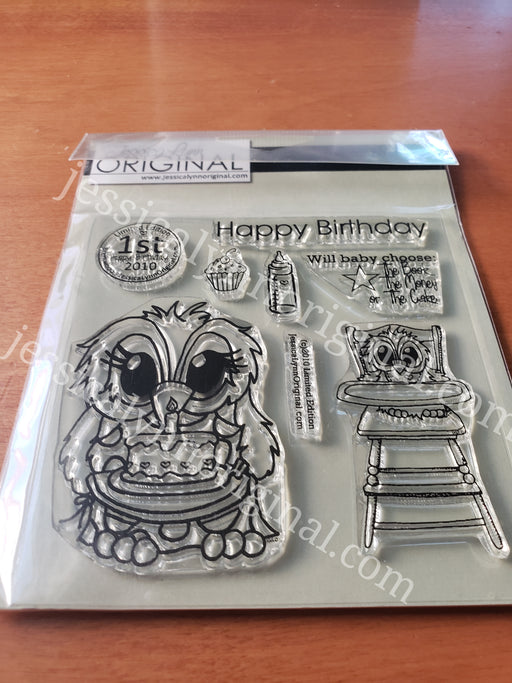 Brentwood Owl© 1st Baby Birthday limited edition set Clear Photopolymer Stamp