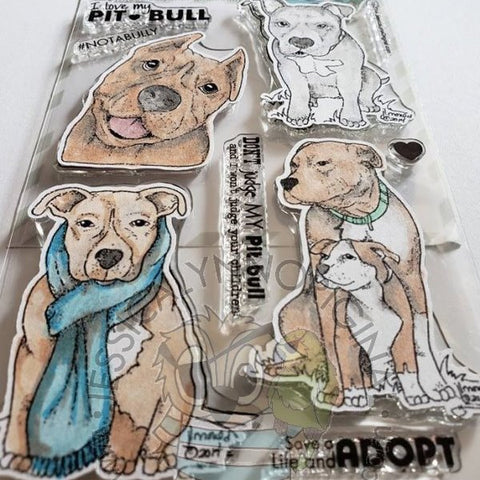 PitBull Pit Bulls Rescue Mom & Baby Dog Clear 4x6 Photopolymer Stamp Set