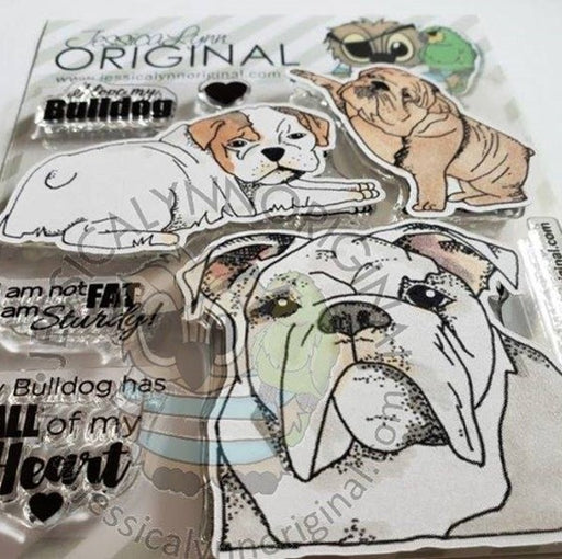 English Bulldog Puppy Dog  4x4 Clear Photopolymer Stamp Set