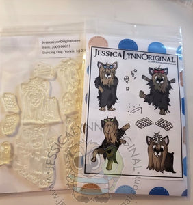 Clearance: Cartoon Dancing Yorkshire Terrier Yorkie Dog Clear Photopolymer Stamp Set