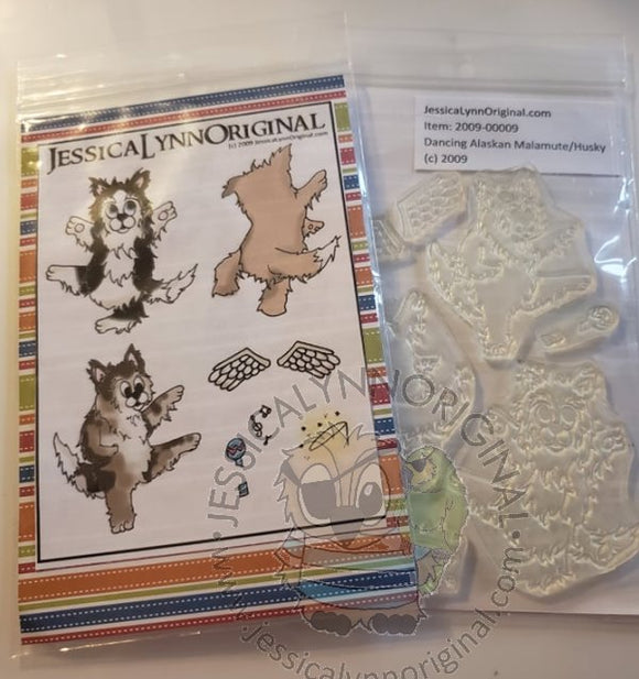 Clearance: Cartoon Dancing Huskie Husky Collie Dog Clear Photopolymer Stamp Set