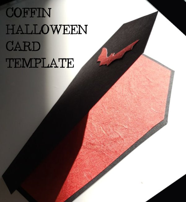 Instant Download - Template Invitation Coffin Vampire Happy Halloween Handmade Card