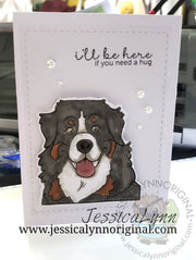 Bernese Mountain Dog Springtime Fun 4x4 Photopolymer Stamp Set