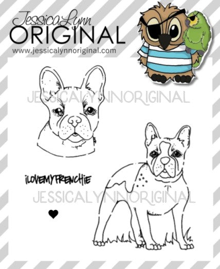 Frenchie Bulldog French Bulldog Dog Springtime Fun 4x4 Photopolymer Stamp Set