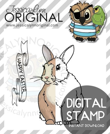 Instant Download - Happy Easter Bunny Rabbit Banner JessicaLynnOriginal Digital Stamp