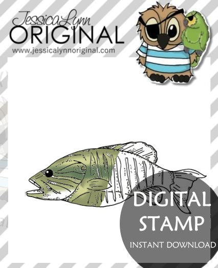 Instant Download -  Happy Father's Day Dad Lets Go Fishing Fish JessicaLynnOriginal Digital Stamp
