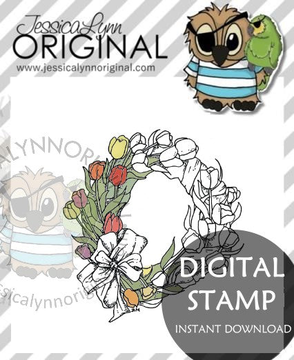 Instant Download -  Happy Easter Tulip Flower Wreath Spring time JessicaLynnOriginal Digital Stamp