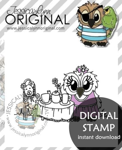 Instant Download - Tea Party for Two Mothers Day JessicaLynnOriginal Digital Stamp