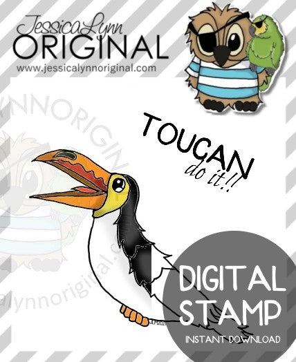 Instant Download - Tiki Toucan Bird Encouragement JessicaLynnOriginal Digital Stamp
