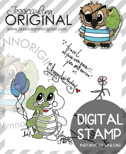 Instant Download - Happy Birthday Turtle and Balloons JessicaLynnOriginal Digital Stamp