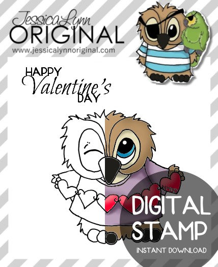 Instant Download - Brentwood Owl Happy Valentines Day True Love Sentiment JessicaLynnOriginal Digital Stamp
