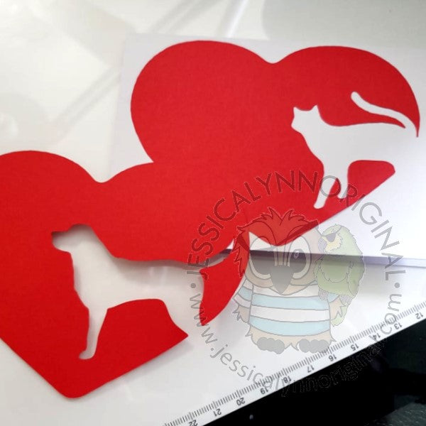 Instant Download - Template Die Cut Sympathy Dog or Cat within Heart Shape Brother ScanNCut, Silhouette, cricut SVG File