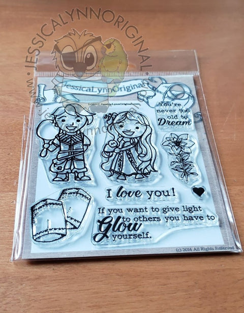 Rapunzel Tangled Lanterns Miracles take Time Kids in Costumes Clear 4x4 Photopolymer Stamp Set