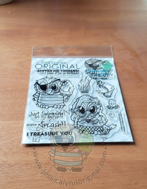 Brentwood Owl© Pirates and Mermaid I Treasure You 4x4 Clear Photopolymer Stamp Set
