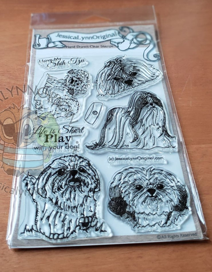 Shih Tzu Toy Dog 4x6 Photopolymer Stamp Set Dog Sentiments
