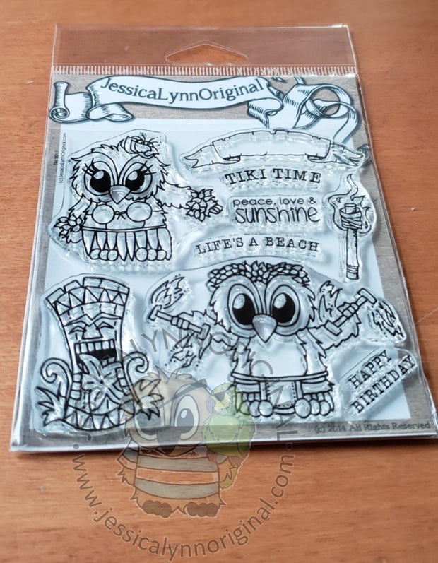 Brentwood Owl© Tropical Hawaii Vacation Luau Tiki God 4x4 Clear Photopolymer Stamp Set