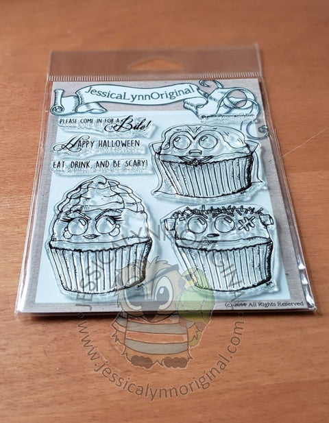 Happy Halloween Come in for a Bite Cupcake Clear 4x4 Photopolymer Stamp Set