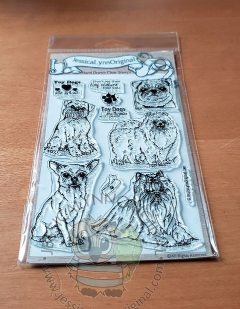 Toy Dog Stamps Set Featuring: Yorkshire Terrier Pomeranian Chihuahua Brussels Griffon Pug 4x6 Photopolymer Stamp Set